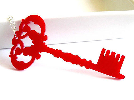 Jewelry Jewelry - A Red Key To Your Heart Pendant Necklace by Rony Bank