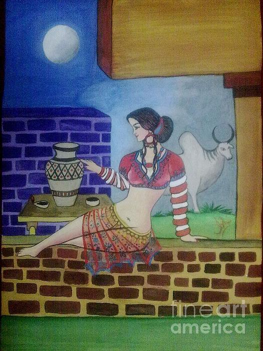 A Ruined City Girl Of Moen-jo-daro Painting by Syeda Ishrat