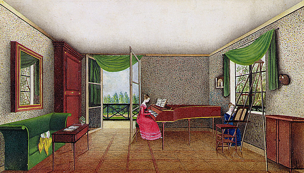 Girl Playing The Piano Painting - A Russian Interior by Micheline Blenarska