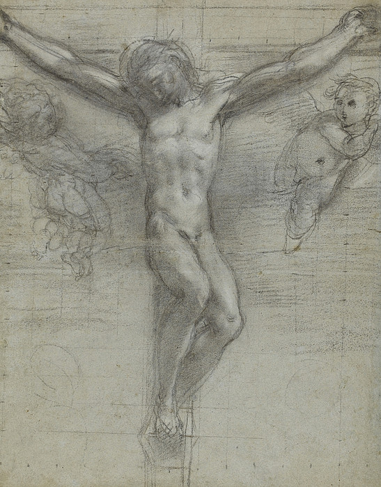 Jesus Christ Drawing - A Study Of Christ On The Cross With Two by Federico Fiori Barocci or Baroccio