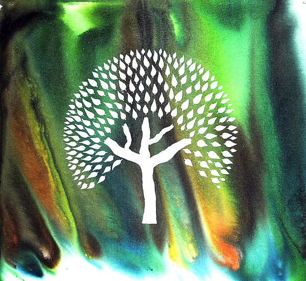Abstract Forest Painting - A Tree I Dreamt Of  by Sumit Mehndiratta