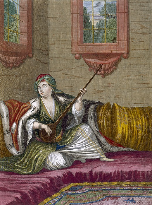 Ottoman Empire Drawing - A Turkish Girl Playing The Tehegour by French School