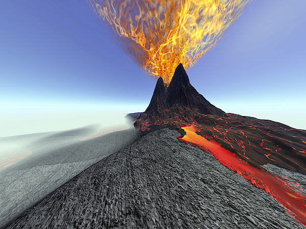A Volcano Comes To Life With Fire, Smoke And Lava. Drawing by Corey Ford/Stocktrek Images