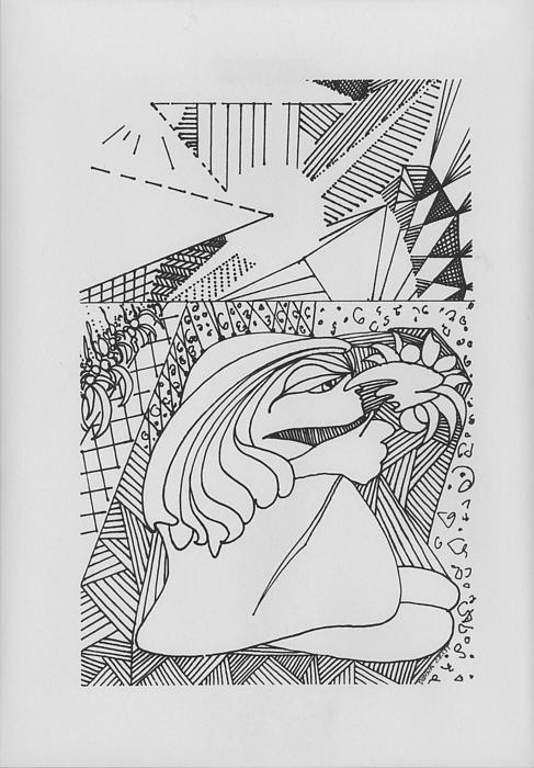 Girl Smelling Flower Drawing - A Walk In The Sunshine by Donna Crist