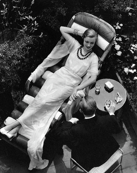 A Woman In A Chiffon Tea Gown In A Chaise Longue Photograph by  The 3
