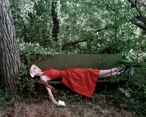 A Woman Lying On A Bench Photograph by John Rawlings