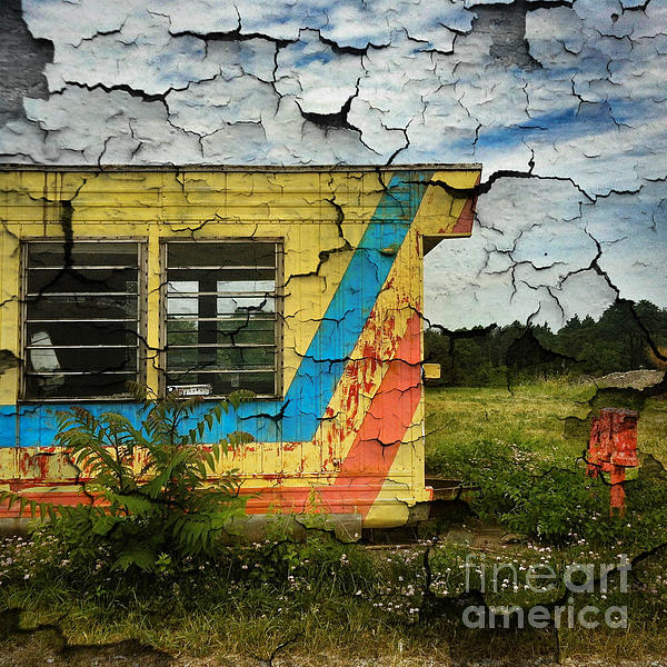 Abandoned Digital Art - Abandoned Yellow Trailer by Amy Cicconi