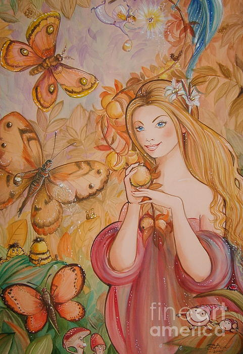 Abigail In The Golden Forest Painting by Ottilia Zakany