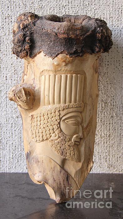 Persian Sculpture Relief - Achaemenian Soldier Relief Sculpture Wood Work by Persian Art