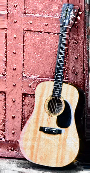 Acoustic Photograph - Acoustic Guitar And Red Door by Bill Cannon