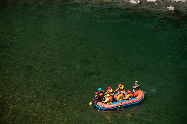 Aerial View Of A Group Men And Women Rafting In A Calm River Photograph by Tdub303