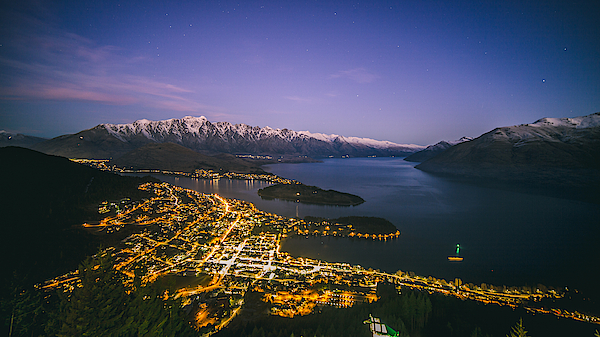 Aerial View Of Queenstown Cityscape At Night, New Zealand Photograph by Lingxiao Xie