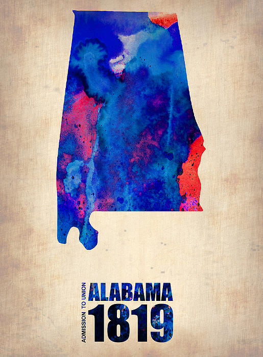 Alabama Digital Art - Alabama Watercolor Map by Naxart Studio