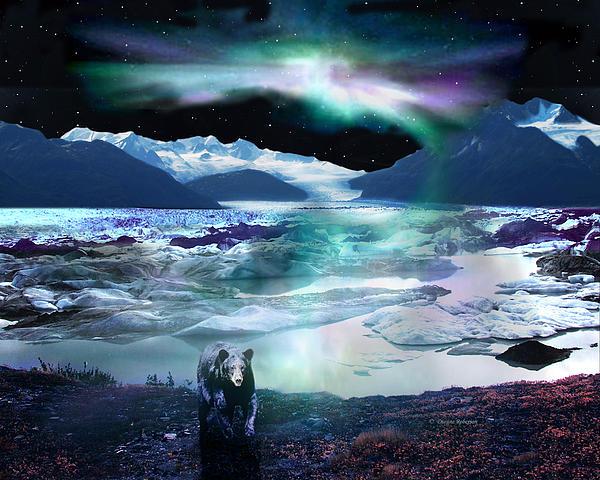 Alaska Digital Art - Alaska Aurora Knik Glacier Bear by Dianne Roberson