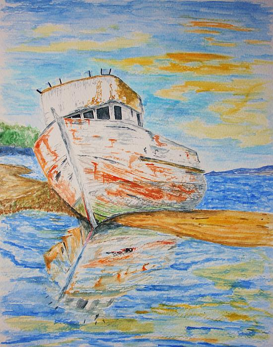 Boat Painting - All Washed Up by Paul Morgan