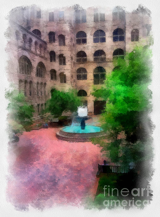 Allegheny County Courthouse Digital Art - Allegheny County Courthouse Courtyard by Amy Cicconi