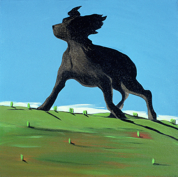 Landscape Painting - Amazing Black Dog, 2000 by Marjorie Weiss