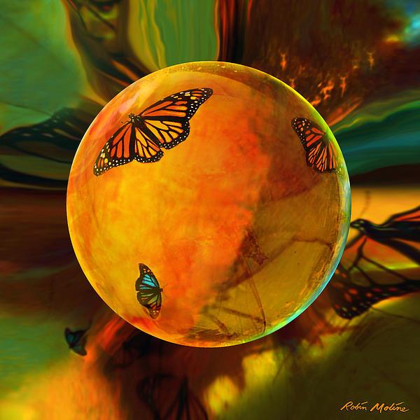 Butterflies Digital Art - Ambered Butterfly Orb by Robin Moline