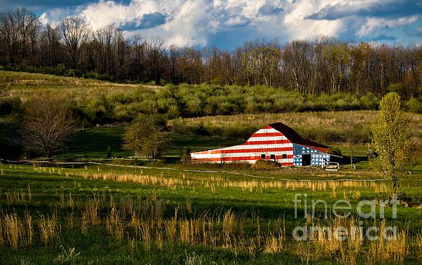 American Flag Photograph - American Flag Barn by Amy Cicconi