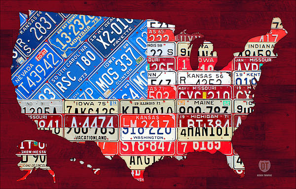License Plate Map Mixed Media - American Flag Map Of The United States In Vintage License Plates by Design Turnpike