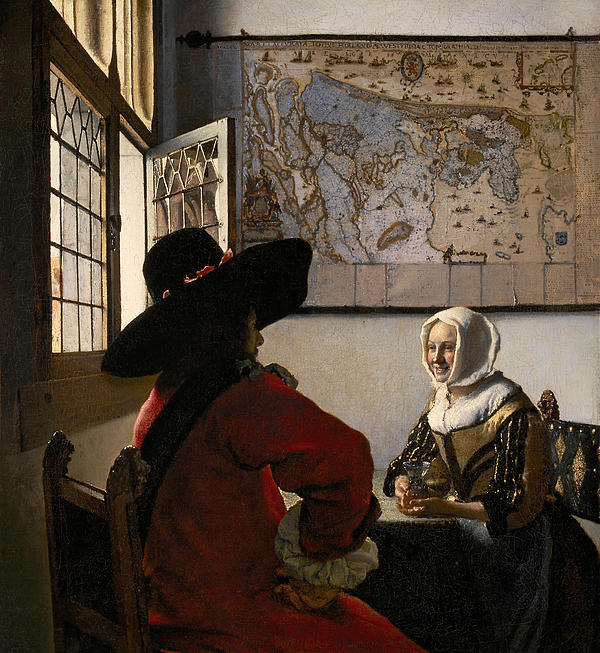 Map Painting - Amorous Couple by Jan Vermeer