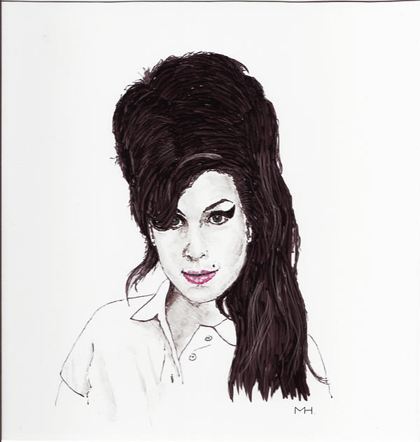 Portrait Drawing - Amy Winehouse by Martin Howard
