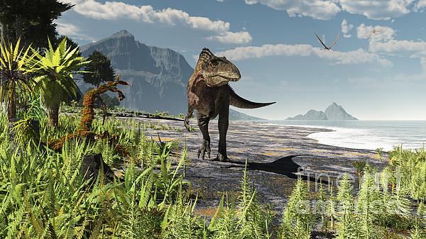 Extinct Digital Art - An Acrocanthosaurus Roams An Early by Arthur Dorety