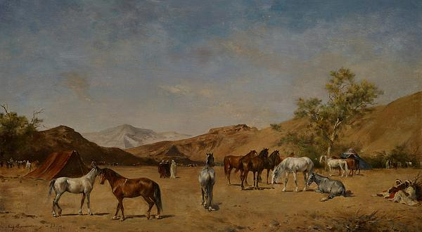 Arabian; Arabia; Middle East; Middle Eastern; Landscape; Desert; Horses; Horse; Mountains; Mountainous; Arid; Wilderness; Camp; Encampment; Travel; Travellers; Tent; Tents; Journey Painting - An Arabian Camp by Eugene Fromentin