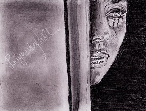 Crying Drawing - An Emotional Girl by Priyanka Patil