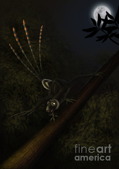 Vertical Digital Art - An Epidexipteryx Reacts Aggressively by Alvaro Rozalen