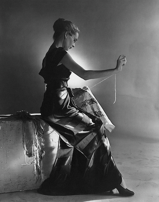 Andrea Johnson Wearing A Striped Dress Photograph by Cecil Beaton