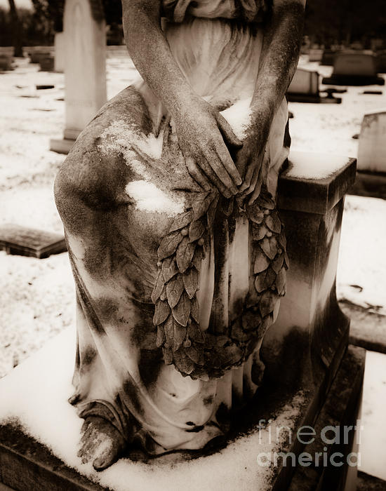 Cemetery Photograph - Angel In Snow by Sonja Quintero