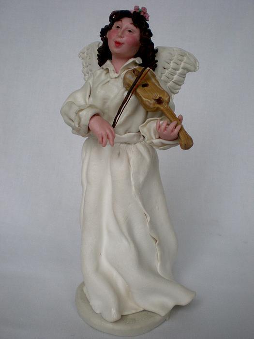 Christmas Card Ceramic Art - Angel With Violine by Natalia Elerdashvili