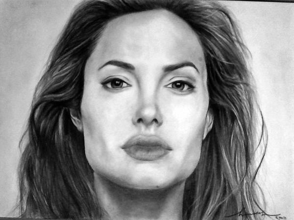Angelina Jolie Drawing - Angelina Jolie Original Pencil Drawing by Murni Ch