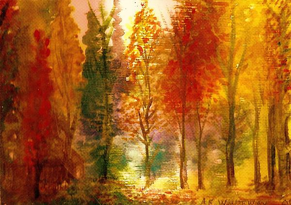 Trees Painting - Another View Of Autumn Hideaway by Anne-Elizabeth Whiteway