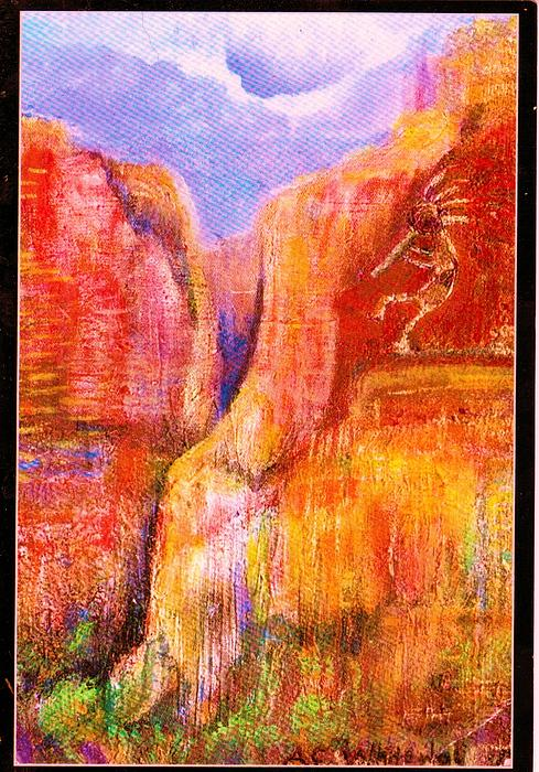 Southwest Painting - Another View Of Kokopelli by Anne-Elizabeth Whiteway