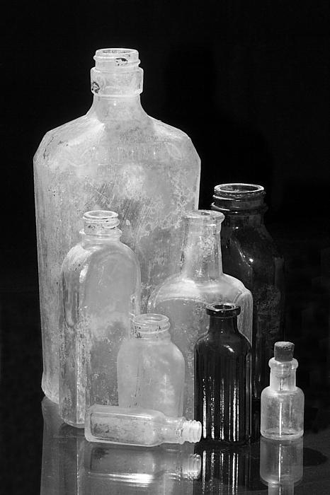 Bottles Photograph - Antique Bottles 4 Black And White by Phyllis Denton