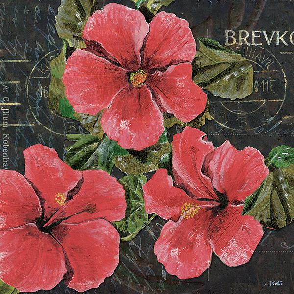 Pink Painting - Antique Hibiscus Black 3 by Debbie DeWitt