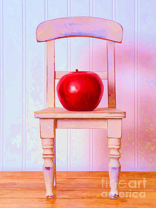 Chair Photograph - Apple Still Life With Doll Chair by Edward Fielding