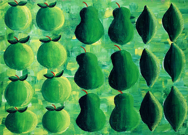 Apple Painting - Apples Pears And Limes by Julie Nicholls