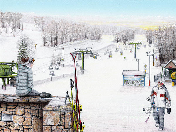 Hidden Valley Painting - Apres-ski At Hidden Valley by Albert Puskaric