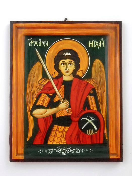 Archangel Michael Painting - Archangel Michael Hand-painted Wooden Holy Icon Orthodox Iconography Icons Ikons by Denise Clemenco