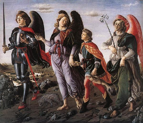 Nativity Painting - Archangels With Tobias by Renaissance Master