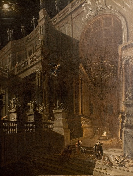 Architectural Painting - Architectural Fantasy With Figures by Stefano Orlandi
