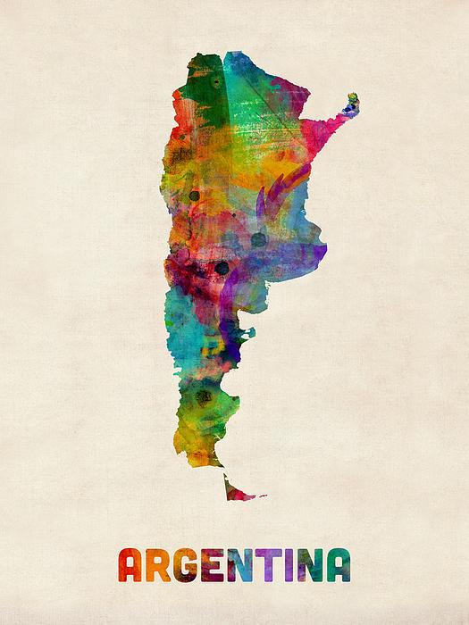 Watercolour Digital Art - Argentina Watercolor Map by Michael Tompsett