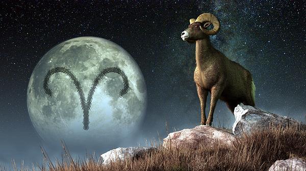 Aries Digital Art - Aries Zodiac Symbol by Daniel Eskridge