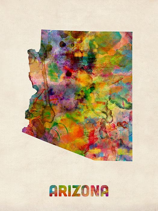 United States Map Digital Art - Arizona Watercolor Map by Michael Tompsett