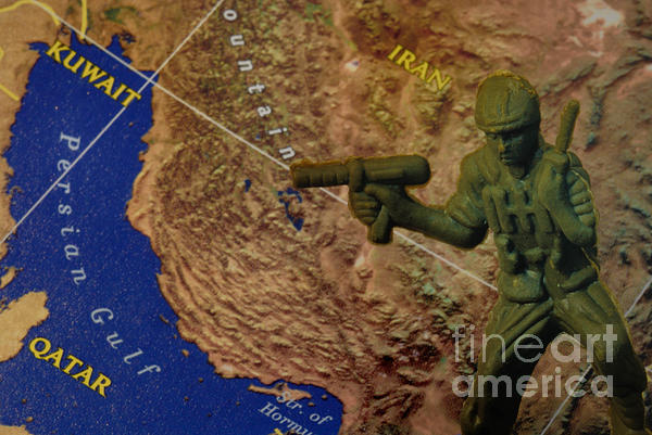 Aggression Photograph - Armed Toy Solider With Middle East Map by Amy Cicconi