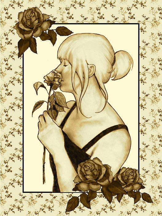 Woman Drawing - Art Nouveau Style Woman With Roses by Joyce Geleynse