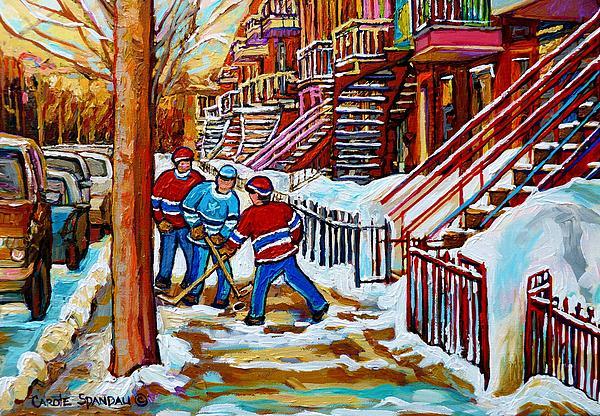 Montreal Painting - Art Of Verdun Staircases Montreal Street Hockey Game City Scenes By Carole Spandau by Carole Spandau